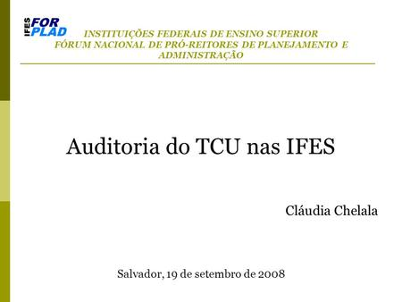 Auditoria do TCU nas IFES