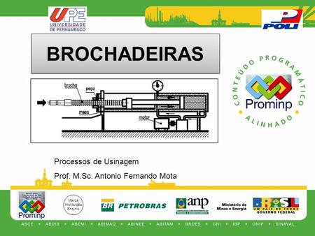 BROCHADEIRAS Processos de Usinagem Prof. M.Sc. Antonio Fernando Mota