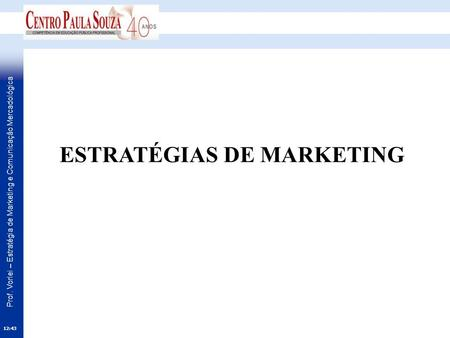 Prof. Vorlei – Estratégia de Marketing e Comunicação Mercadológica ESTRATÉGIAS DE MARKETING 12:45.