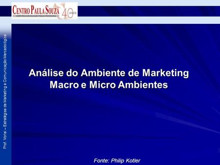 Prof. Vorlei – Estratégias de Marketing e Comunicação Mercadológica Análise do Ambiente de Marketing Macro e Micro Ambientes Fonte: Philip Kotler.