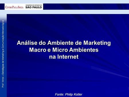 Prof. Vorlei – Estratégias de Marketing e Comunicação Mercadológica Análise do Ambiente de Marketing Macro e Micro Ambientes na Internet Fonte: Philip.