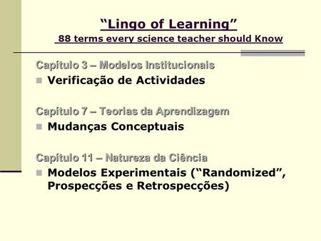 """Lingo of Learning"" 88 terms every science teacher should Know"