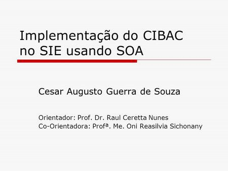 Implementação do CIBAC no SIE usando SOA