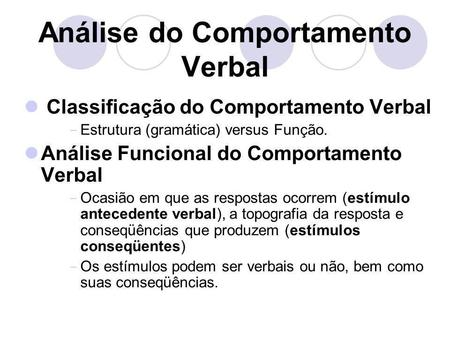 Análise do Comportamento Verbal