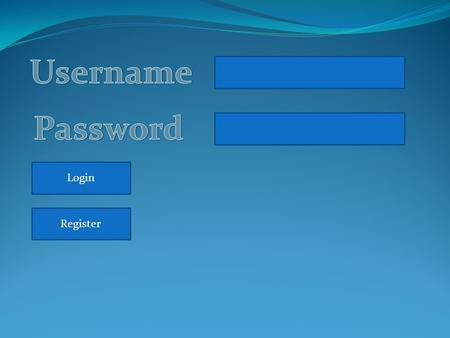 Login Register. Primeiro Nome Ultimo Nome Data Nascimento Telefone Email Username Password Ok.