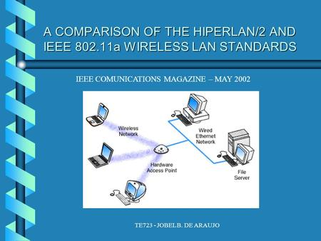 TE723 - JOBEL B. DE ARAUJO A COMPARISON OF THE HIPERLAN/2 AND IEEE 802.11a WIRELESS LAN STANDARDS IEEE COMUNICATIONS MAGAZINE – MAY 2002.