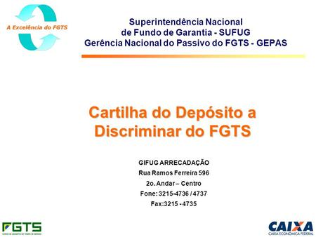 Cartilha do Depósito a Discriminar do FGTS