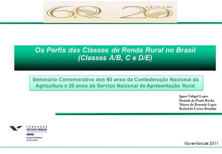 Os Perfis das Classes de Renda Rural no Brasil (Classes A/B, C e D/E)