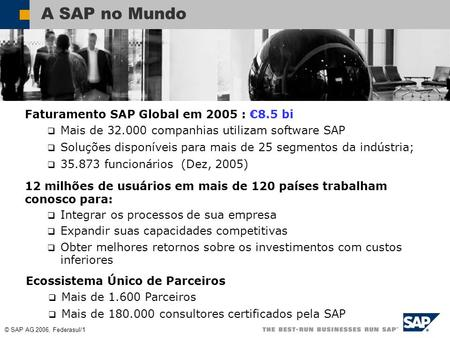 A SAP no Mundo Faturamento SAP Global em 2005 : €8.5 bi