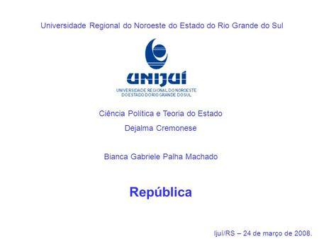 Universidade Regional do Noroeste do Estado do Rio Grande do Sul