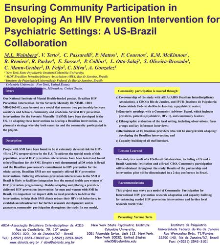 Ensuring Community Participation in Developing An HIV Prevention Intervention for Psychiatric Settings: A US-Brazil Collaboration M.L. Wainberg 1, V. Terto.