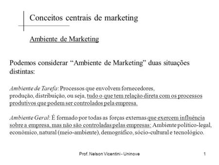 Prof. Nelson Vicentini - Uninove1 Conceitos centrais de marketing Ambiente de Marketing Podemos considerar Ambiente de Marketing duas situações distintas:
