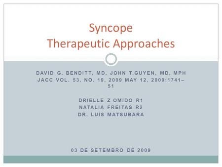 Syncope Therapeutic Approaches