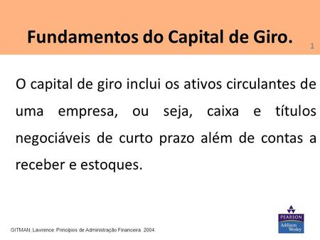 Fundamentos do Capital de Giro.