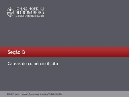  2007 Johns Hopkins Bloomberg School of Public Health Seção B Causas do comércio ilícito.