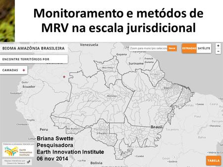 Monitoramento e metódos de MRV na escala jurisdicional Briana Swette Pesquisadora Earth Innovation Institute 06 nov 2014.