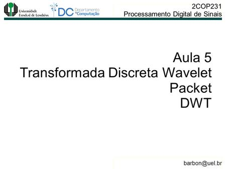 Aula 5 Transformada Discreta Wavelet Packet DWT.