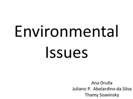Environmental Issues Ana Drulla Juliano P. Abelardino da Silva Thamy Soavinsky.