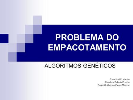 PROBLEMA DO EMPACOTAMENTO