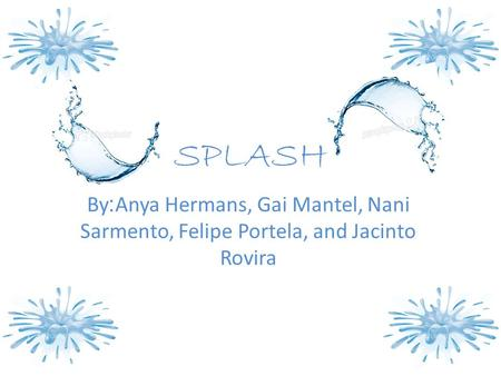 SPLASH By:Anya Hermans, Gai Mantel, Nani Sarmento, Felipe Portela, and Jacinto Rovira.