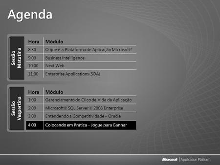 Agenda Sessão Matutina HoraMódulo 8:30O que é a Plataforma de Aplicação Microsoft? 9:00Business Intelligence 10:00Next Web 11:00Enterprise Applications.