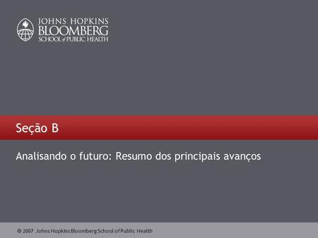  2007 Johns Hopkins Bloomberg School of Public Health Seção B Analisando o futuro: Resumo dos principais avanços.