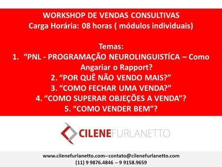 WORKSHOP DE VENDAS CONSULTIVAS