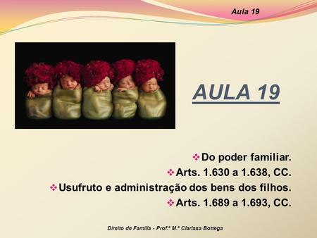 AULA 19 Do poder familiar. Arts a 1.638, CC.