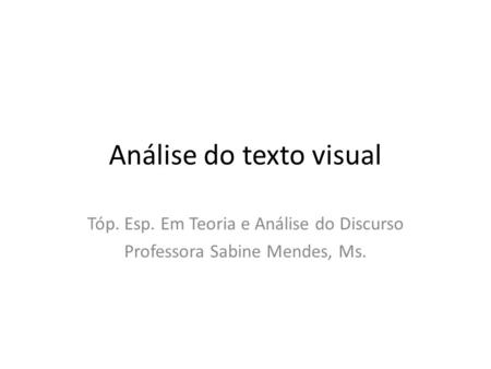 Análise do texto visual