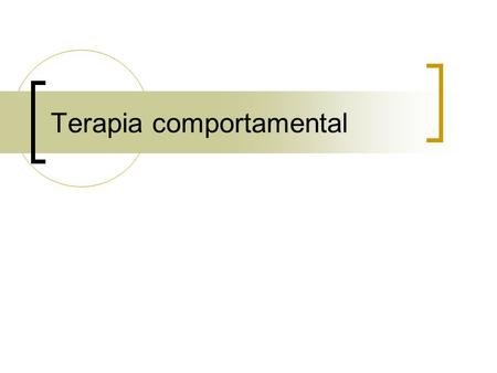 Terapia comportamental
