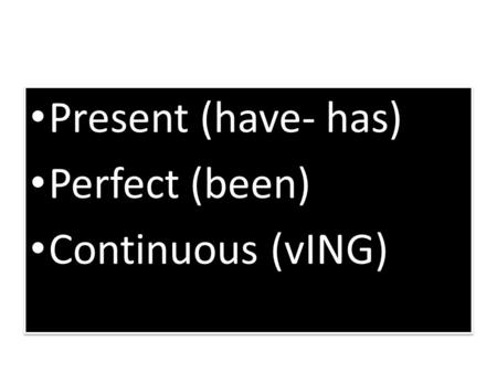 Present (have- has) Perfect (been) Continuous (vING) Present (have- has) Perfect (been) Continuous (vING)