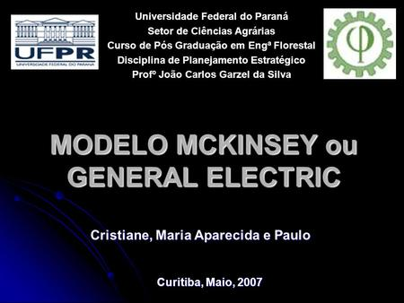 MODELO MCKINSEY ou GENERAL ELECTRIC