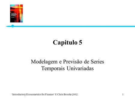 'Introductory Econometrics for Finance' © Chris Brooks 20021 Capitulo 5 Modelagem e Previsão de Series Temporais Univariadas.
