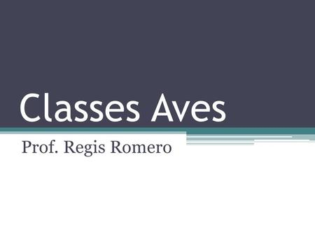 Classes Aves Prof. Regis Romero.