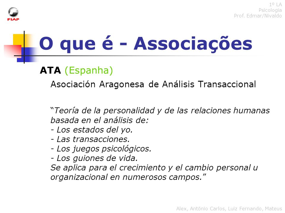 O que é - Associações ITAA (Internacional) International Transactional Analysis Association Transactional analysis is a social psychology developed by Eric Berne, MD (d.1970).