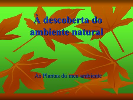 À descoberta do ambiente natural À descoberta do ambiente natural As Plantas do meu ambiente.