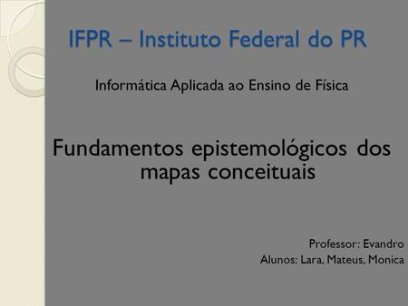 IFPR – Instituto Federal do PR