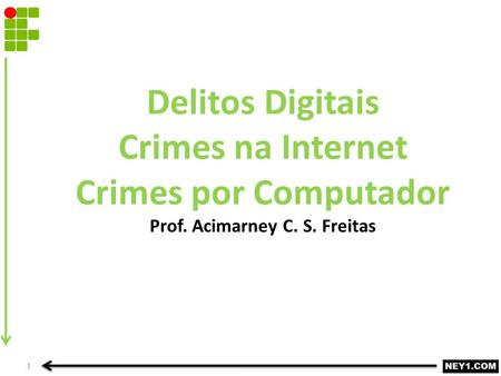 Delitos Digitais Crimes na Internet Crimes por Computador Prof. Acimarney C. S. Freitas 1.