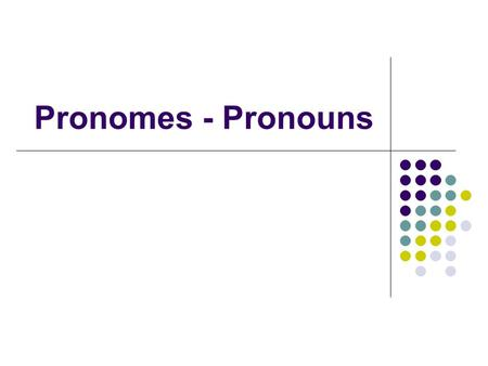 Pronomes - Pronouns.