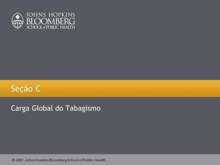  2007 Johns Hopkins Bloomberg School of Public Health Seção C Carga Global do Tabagismo.