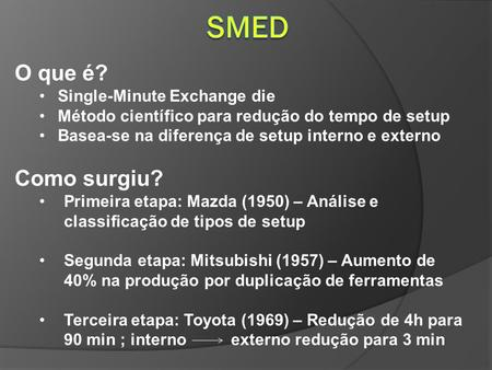 SMED O que é? Como surgiu? Single-Minute Exchange die
