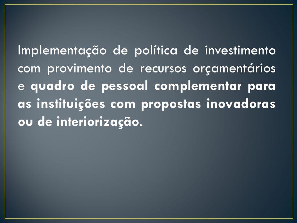 Implementação de programa de incentivos financeiros para as instituições que demonstrem ações efetivas de interiorização em áreas relevantes e estratégicas para o desenvolvimento regional e nacional.