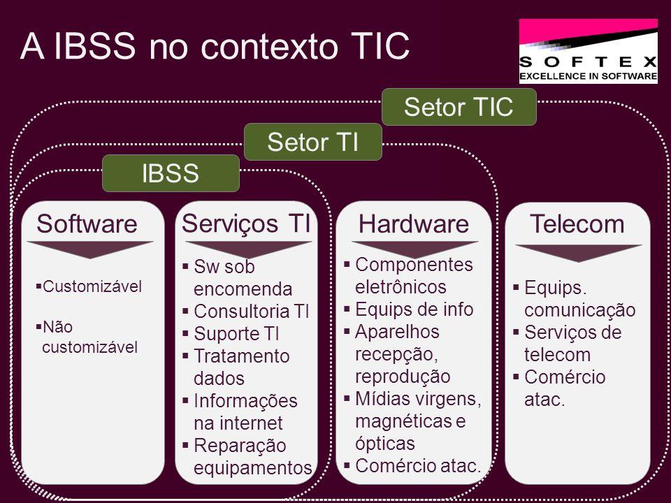 IBSS na CNAE 2.0 6201 - Software sob encomenda 6202 - Software customizável 6203 - Software não customizável 6204 - Consultoria em TI 6209 - Suporte técnico, manutenção e outros serv.