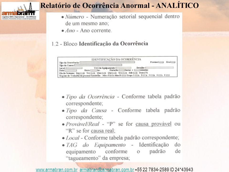www.armabran.com.brwww.armabran.com.br armabran@armabran.com.br +55 22 7834-2589 ID 24*43943armabran@armabran.com.br Relatório de Ocorrência Anormal - ANALÍTICO