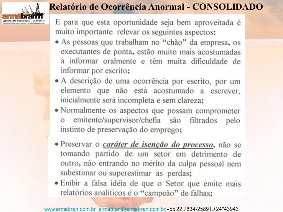 www.armabran.com.brwww.armabran.com.br armabran@armabran.com.br +55 22 7834-2589 ID 24*43943armabran@armabran.com.br Relatório de Ocorrência Anormal - CONSOLIDADO