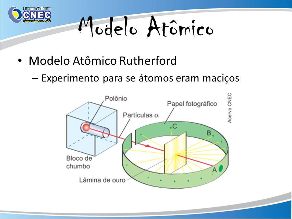 Modelo Atômico Modelo Atômico Rutherford – Maior parte do átomo era vazio Eletrosfera – onde se localiza os elétrons – Núcleo Pequena região maciça onde se concentra a massa Possui cargas positivas - prótons – Elétrons giram ao redor do núcleo – Modelo: Sistema Solar Disponível em: http://www.infoescola.com/quimica/modelo-atomico-de-rutherford/.