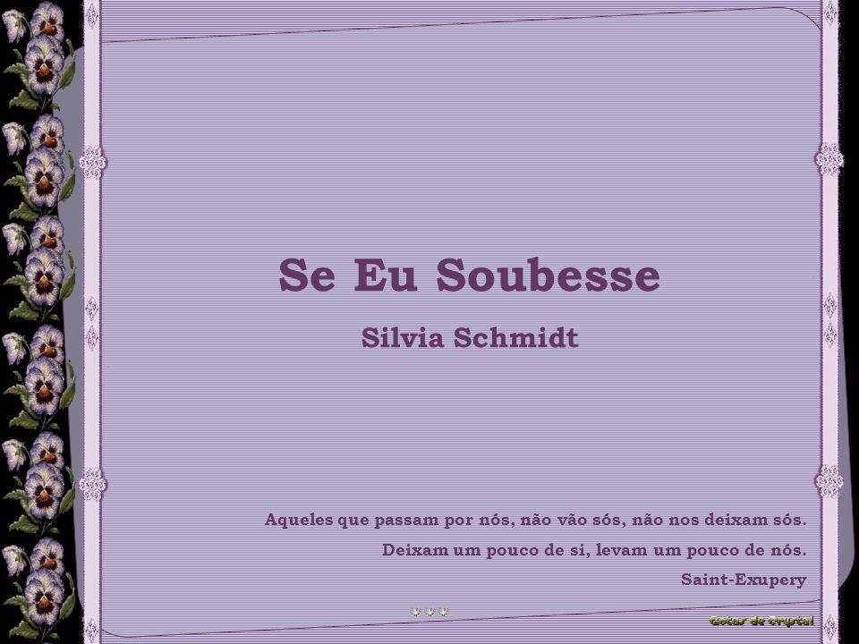 Se Eu Soubesse Silvia Schmidt Aqueles que passam por nós, não vão sós, não nos deixam sós.