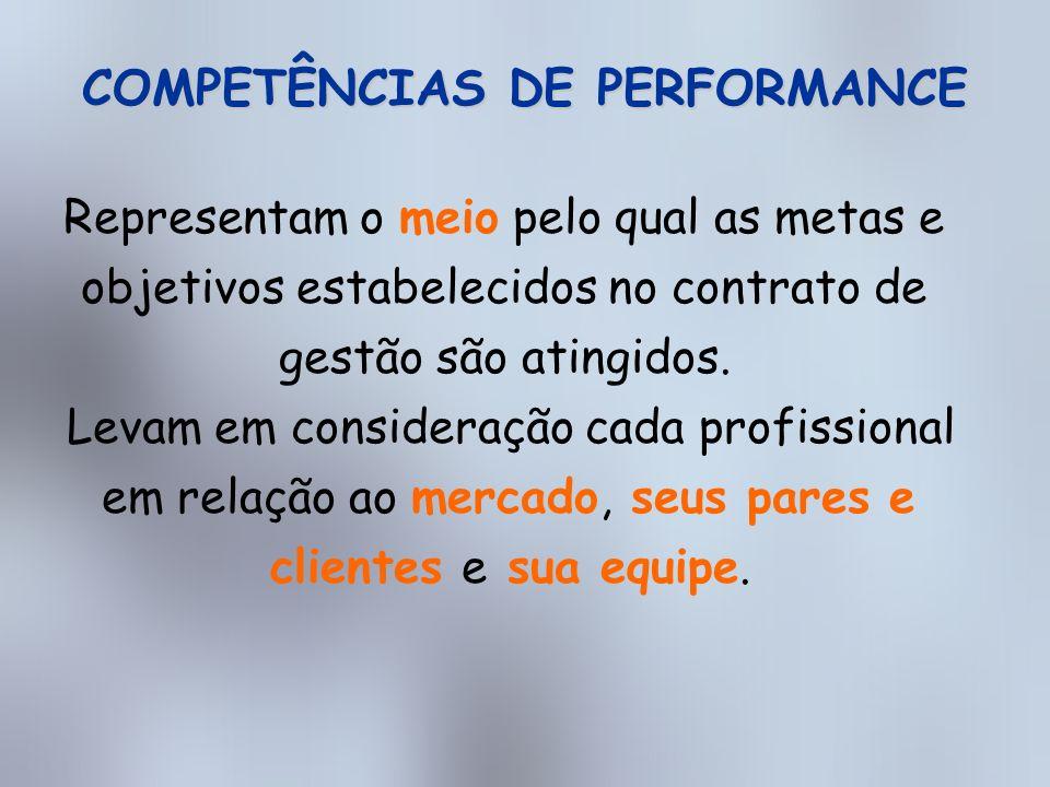 COMPETÊNCIAS DE PERFORMANCE GESTÃO DE PESSOAS INOVAÇÃO COMPROMENTIMENTO COM PARES E CLIENTES ORIENTAÇÃO EXTERNA COMUNICAÇÃO