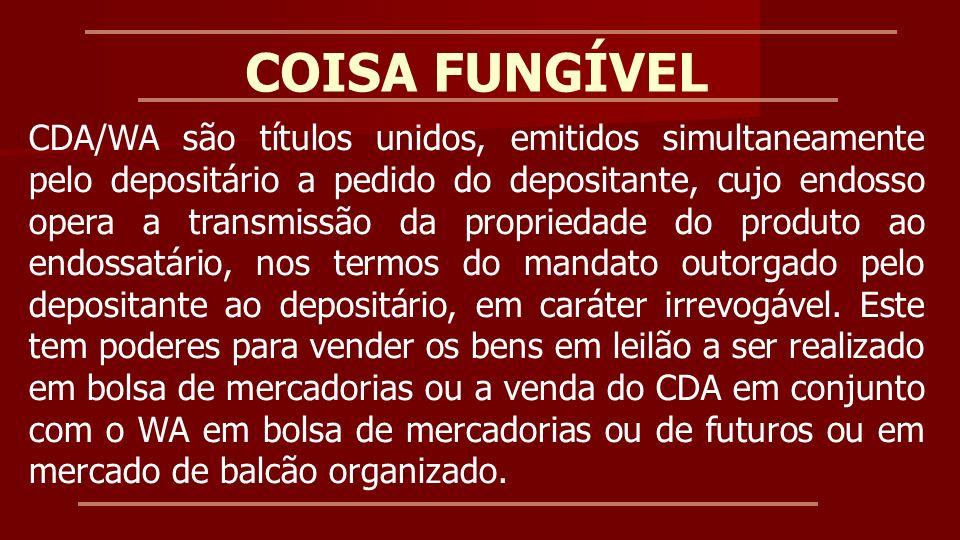 COISA FUNGÍVEL: EXECUÇÃO Venda dos bens em bolsa de mercadorias, seguida de ação judicial para cobrança da dívida remanescente, se houver.