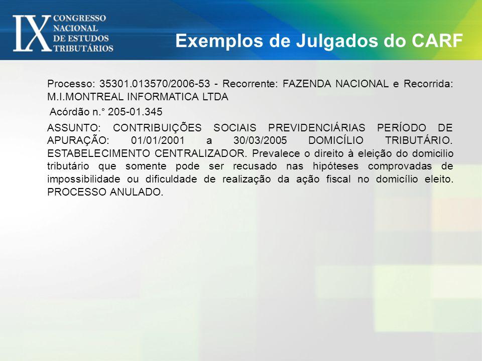 Exemplos de Julgados do CARF Processo 10245.900299/2009-21 Acórdão 1101-00.001 ASSUNTO: IMPOSTO SOBRE A RENDA DE PESSOA JURÍDICA - IRPJ DCOMP.